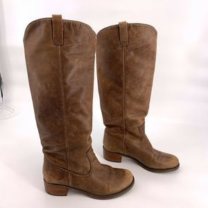 Lucky Brand Brown Knee High Distressed Boots 8.5